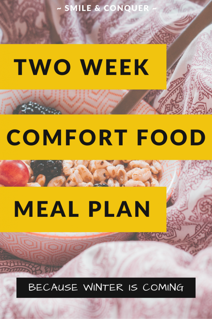 The ultimate comfort food meal plan with two full weeks of recipes for when the weather starts to turn cold.